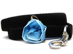 Carnation Velvet Dog Leash - Blue