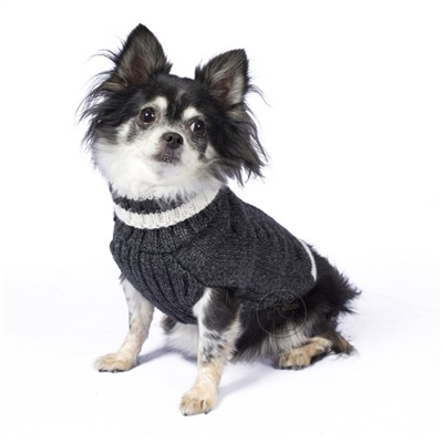 Alpaca Varsity Cable Charcoal Sweater