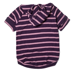 Lightweight Bamboo Knit Hoodie - Purple Stripe