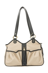 Metro Khaki Metro Couture w/  Black Leather Trim & Tassel