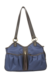 Metro Couture Navy w/Brown Leather Trim & Tassel