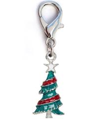 Christmas Tree Enamel Dog Collar Charm-Silver