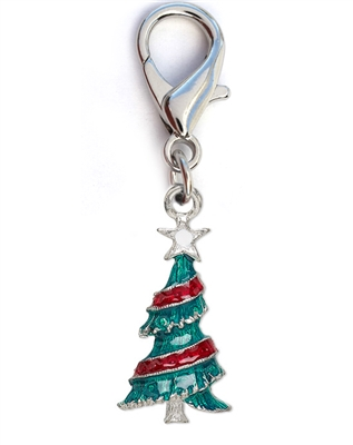 Christmas Tree Enamel Dog Collar Charm-Silver