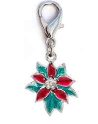 Poinsettia Enamel Dog Collar Charm-Silver
