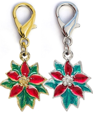 Poinsettia Enamel Dog Collar Charm-Silver