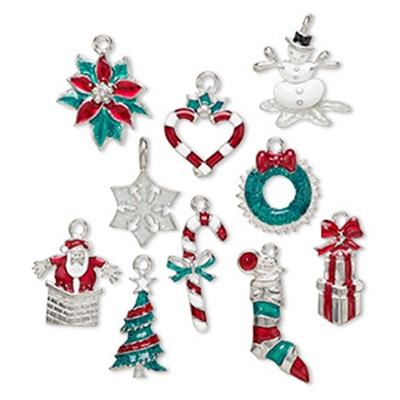 Snowman Shimmer Enamel Dog Collar Charm-Silver