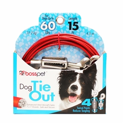 Boss Pet Large Dog Tie-Out w/ spring 15'