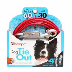Boss Pet Large Dog Tie-Out w/ spring 30'