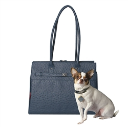 Embossed Ostrich Monaco Tote in Wedgwood