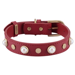 Boho Glass Pearl Collar & Leash - Red