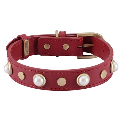 Boho Glass Pearl Collar & Leash - Red