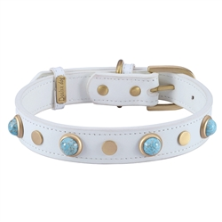 Boho Glass Collar & Leash - White