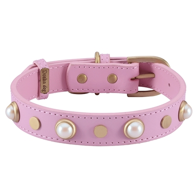 Boho Glass Pearl Collar & Leash - Pink
