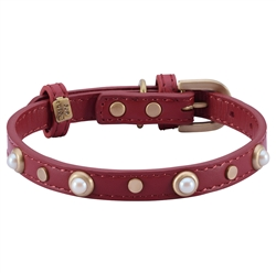 Mini Boho Glass Pearl Collar & Leash - Red