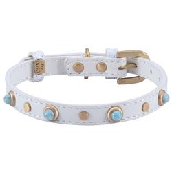 Mini Boho Turquoise Glass Collar & Leash - White