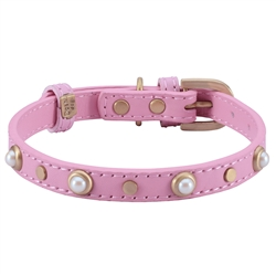 Mini Boho Glass Pearl Collar & Leash - Pink