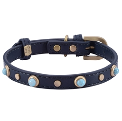 Mini Boho Glass Collar & Leash - Blue