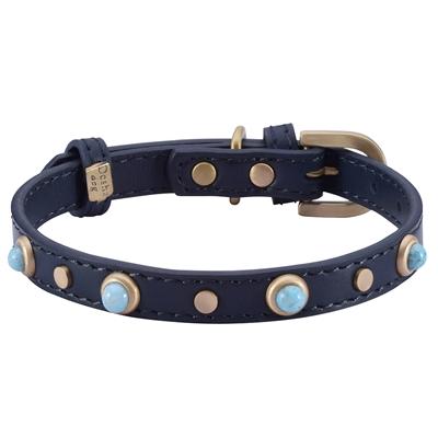 Mini Boho Glass Collar & Leash - Blue