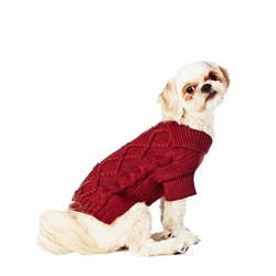 Hotel Doggy Cable Cardigan Sweater - Color: Zinfandel