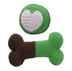 3pack Organic Cotton Crochet Bone & Ball Toy Set - Green