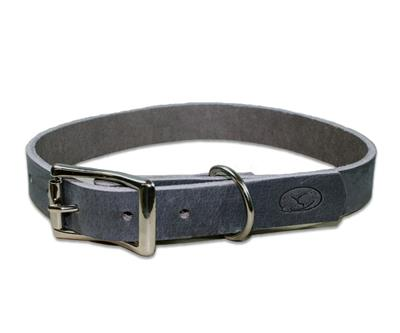 Gray Thick Leather Dog Collar