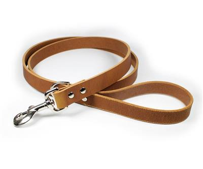Thick Leather Dog Leash - Light Brown