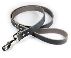 Thick Leather Dog Leash - Gray