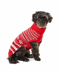 Hotel Doggy Intarsia Pattern Sweater - Cranberry Red