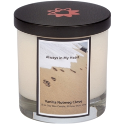 Pawprints In Sand Gold Memorial Candle With Lid (12.0 oz)