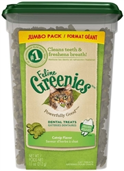 GREENIES FELINE DENTAL TREAT CATNIP - JUMBO TUB 11OZ