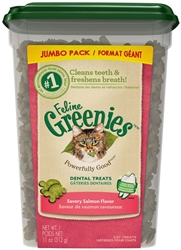 GREENIES FELINE DENTAL TREAT SALMON - JUMBO TUB 11OZ