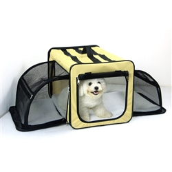 Capacious Dual-Expandable Wire Lightweight Collapsible Travel Pet Crate carrier  by Pet Life