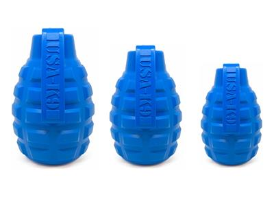 USA-K9 by SodaPup - Natural Rubber Grenade Shaped Chew Toy - Treat Dispenser - Slow Feeder - for Heavy Chewers - Made in USA - Blue - Medium
