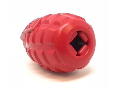 USA-K9 by SodaPup - Natural Rubber Grenade Shaped Chew Toy - Treat Dispenser - Slow Feeder - for Heavy Chewers - Made in USA - Red