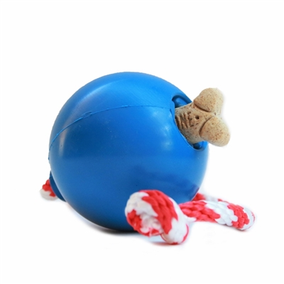 SodaPup USA-K9 - Natural Rubber Cherry Bomb Chew Toy - Tug Toy - Retrieving Toy -Treat Dispenser - for Heavy Chewers - Made in USA - Blue