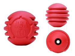 USA-K9 by SodaPup Natural Rubber Stars and Stripes Ultra-Durable Chew Ball - Fetch Toy - Made in USA - for Aggressive Chewers - Red - Large