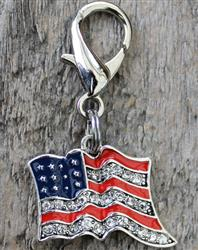 Bling-y Old Glory Dog Collar Charm