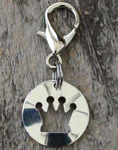 Cutout Crown Dog Collar Charm
