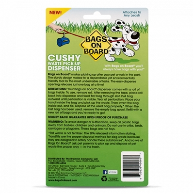 Cushy Dog Poop Bag Dispenser with 14 Waste Bags BAGS ON BOARD