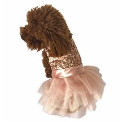 Marilyn Fufu Tutu Dog Dress, Rose Gold Sequins