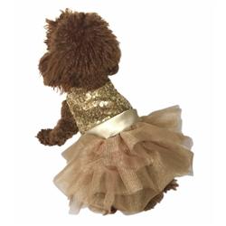 Marilyn Fufu Tutu Dog Dress, Lt. Gold Sequins