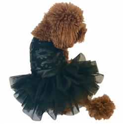 Black Fufu Tutu Dog Dress Rocker Appliqué