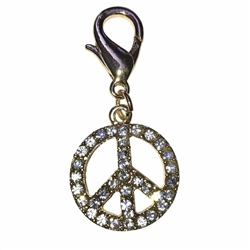 Peace Sign Dog Collar Charm