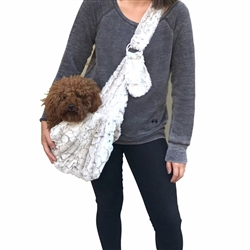 Adjustable Furbaby Sling Bag, Frosted Snow Leopard