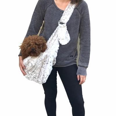 Adjustable Furbaby Sling Bag, Frosted Snow Leopard