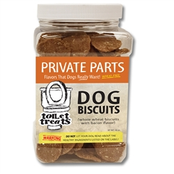 """Private Parts"" - Bacon Toilet Treats Dog Biscuits (16oz.)"