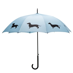 Dachshund Umbrella Black on Island Paradise Blue w/ sleeve and shoulder strap
