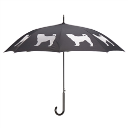 Pug Umbrella White on Black