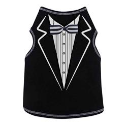 Tuxedo Print Tank  - Black