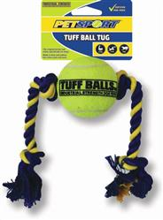 "Twisted Chews 2.5"" Tuff Ball Tug with 14"" Rope"